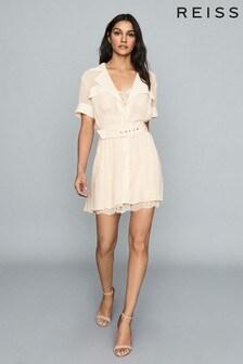 Reiss Nude Fiona Lace Trim Utility Dress