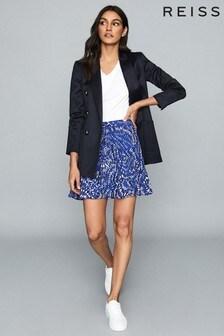Reiss Blue Emelia Printed Mini Skirt