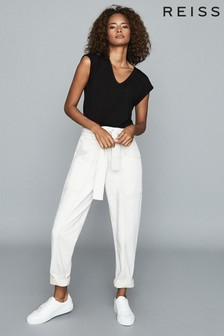 Reiss Ecru Chantelle Mid Rise Tapered Jeans