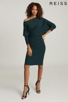 Reiss Green Lara Off The Shoulder Knitted Dress