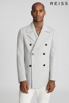 Reiss Grey Hardwick Wool-Blend Peacoat
