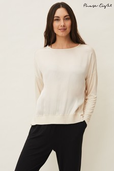 Phase Eight Cream Laya Satin Front Lounge Blouse