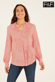 F&F Pink Floral Spun Collarless Shirt