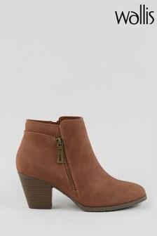 Wallis Arabella Tan Side Zip Ankle Boots