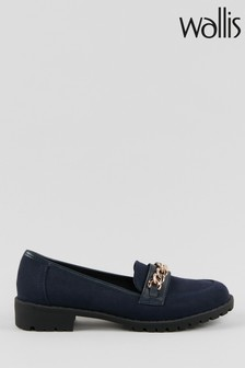 Wallis Brooke Navy Chain Trim Unit Loafers