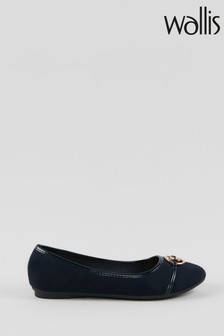 Wallis Britney Navy Circle Trim Ballerinas
