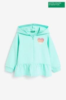 Benetton Mint Ruffle Zip Through Hoodie