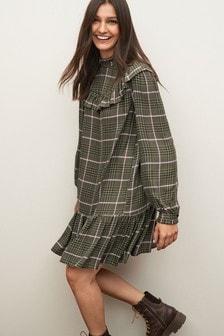 Ruffle Check Mini Dress