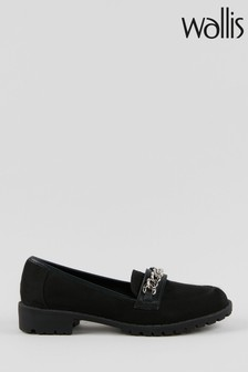 Wallis Brooke Black Chain Trim Unit Loafers