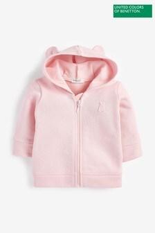 Benetton Pink Zip Through Ears Hoody