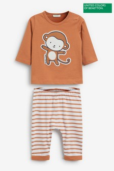 Benetton Brown Character Top/Leggings Two Piece Set