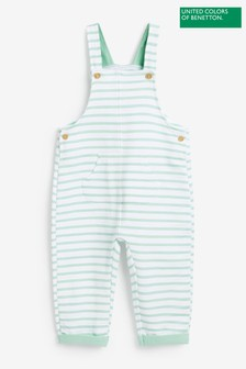 Benetton Green Striped Dungarees
