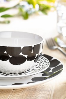 12 Piece Black/White Arlo Dinner Set