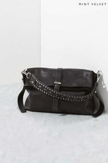Mint Velvet Amber Black Stud Cross Body Bag