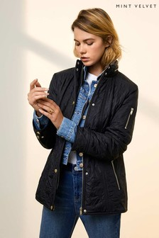 Mint Velvet Navy Quilted Fitted Jacket