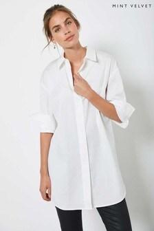 Mint Velvet White Oversized Long Shirt