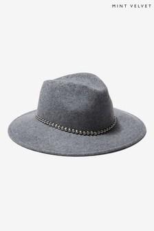 Mint Velvet Grey Fedora Studded Trim Hat