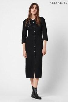 AllSaints Black Polly Denim Long Dress