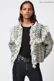 AllSaints Black/White Ashley Tassel Jacket