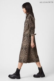 AllSaints Animal Leopard Long Shirt Dress