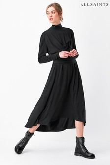 AllSaints Black Erna Long Sleeve Tie Dress