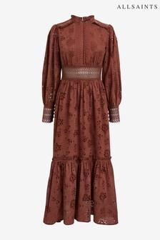 AllSaints Rust Sia Long Broderie Dress