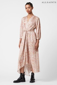 AllSaints Pink Yuni Vernus Print Dress