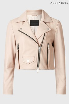 AllSaints Pink Elora Leather Biker Jacket