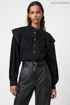 AllSaints Black Mava Studded Denim Shirt