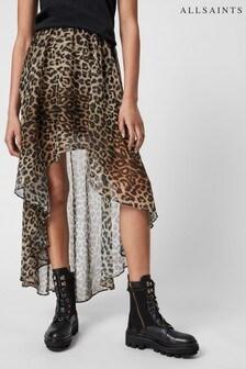 AllSaints Animal Leopard Frill Skirt