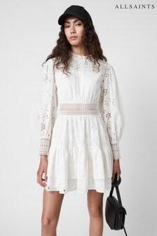 AllSaints White Annasia Short Broderie Dress