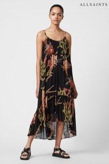 AllSaints Black Paola Nolina Print Strap Dress