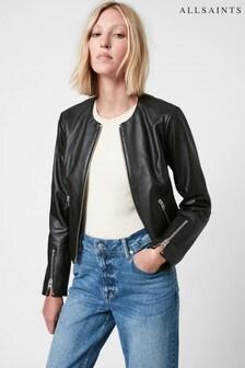 AllSaints Black Nala Leather Biker Jacket