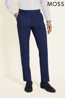 Moss London Slim Fit Blue Slub Trousers