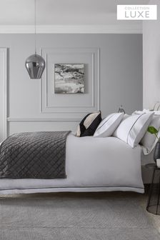 White/Black 600 Thread Count 100% Cotton Sateen Collection Luxe Duvet Cover and Pillowcase Set