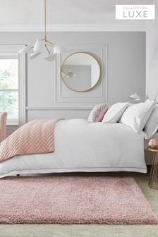 White/Pink 600 Thread Count 100% Cotton Sateen Collection Luxe Duvet Cover and Pillowcase Set