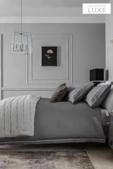 Grey 600 Thread Count 100% Cotton Sateen Collection Luxe Duvet Cover and Pillowcase Set