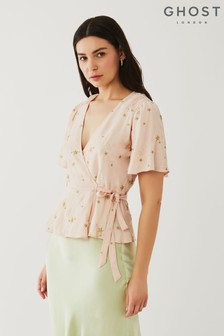 Ghost Pink Belle Embroidered Crepe Blouse