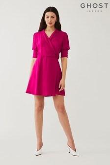 Ghost Pink Serena Satin Back Crepe Dress