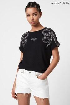 AllSaints Black Lace Snake Boyfriend T-Shirt