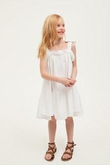 Tiered Linen Blend Dress (3-16yrs)