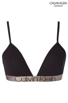 Calvin Klein Black Iconic Cotton Lightly Lined Triangle Bralette