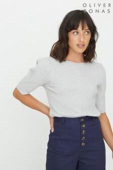 Oliver Bonas Grey Rib Detail Knitted T-Shirt