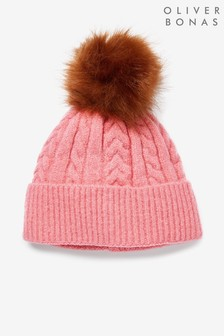 Oliver Bonas Pink Cable Knit Beanie Hat