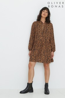 Oliver Bonas Brown Animal Print Mini Dress