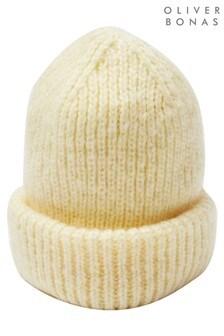 Oliver Bonas Yellow Soft Yellow Marl Rib Knitted Beanie Hat