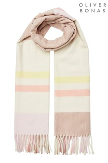 Oliver Bonas Pink Pretty Pastel Checked & Stripe Pink Soft Scarf