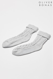 Oliver Bonas Grey Chenille Cable Knit Socks
