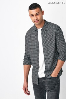 AllSaints Black Tilden Print Long Sleeve Shirt