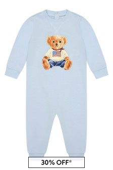 Baby Boys Blue Cotton Bear Coverall